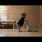 人間の赤ちゃんに歩き方を教えてあげる猫の行動がすごい!